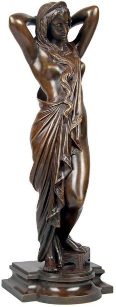 James PRADIER - 1790-1852 NYSSIA, FEMME AUX LONGS CHEVEUX Bronze à patine brune signée.…