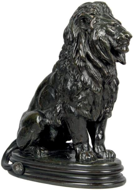 Antoine-Louis BARYE - 1796-1875 LION ASSIS, n° 1 Bronze à patine brun-vert richement…