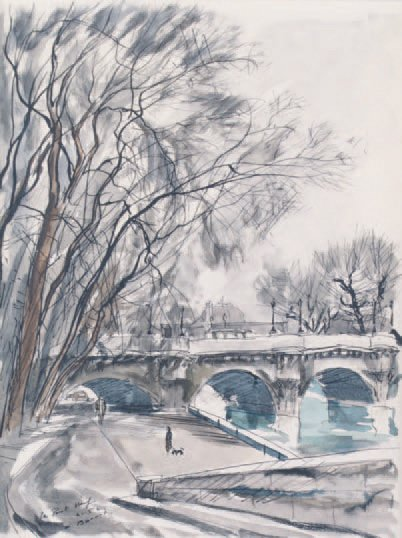 Gaston BARRET (1910-1991) Paris, le Pont-Neuf, 1952 Encre de Chine, lavis et aquarelle…