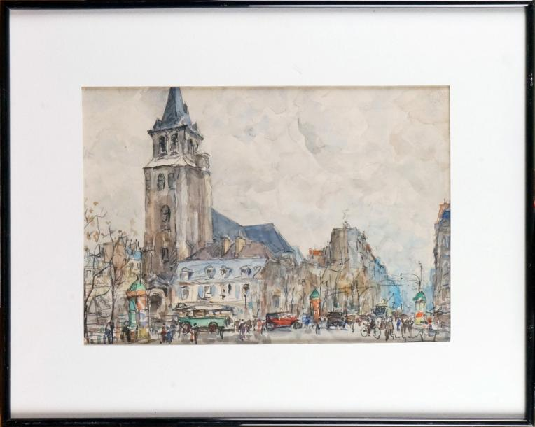 Georges ROSE (1895-1951) PARIS, SAINT GERMAIN DES PRÉS Aquarelle et fusain signés…
