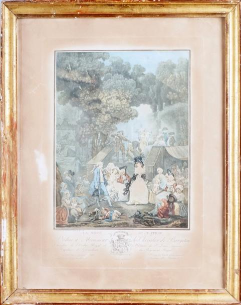 Philibert Louis DEBUCOURT (1755-1832) LA NOCE AU CHÂTEAU Aquatinte en couleurs, imprimeur…