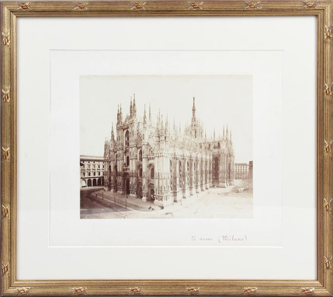 LA CATHÉDRALE DE MILAN Photo argentique vers 1900. 26 x 32 cm