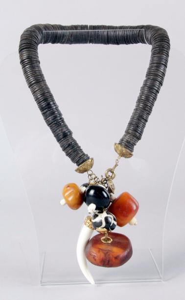 LB CREATION Collection Symphonie africaine COLLIER RAS-DE-COU à pendeloques en pierre…