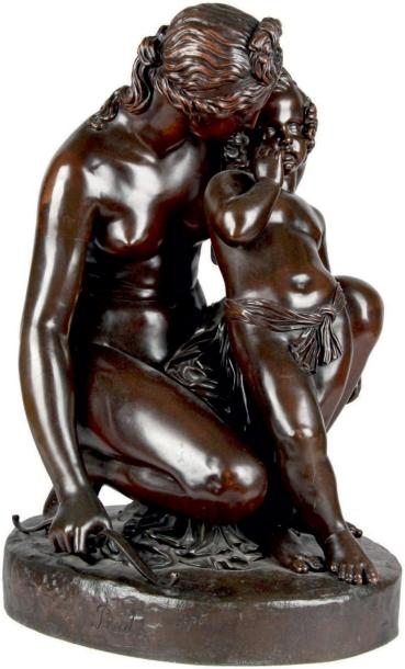 James PRADIER (1790-1852) VÉNUS ET L'AMOUR, 1836 Groupe en bronze à patine brun rouge…