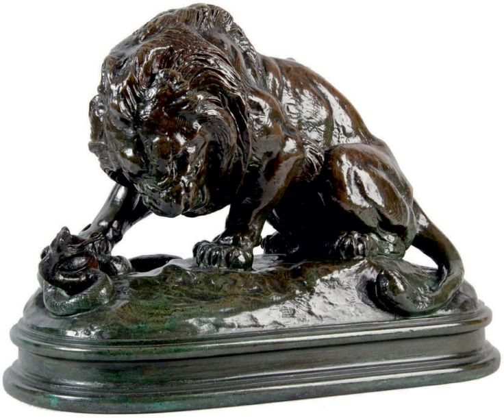 Antoine-Louis BARYE - 1795-1875 LION AU SERPENT N° 1 Groupe en bronze à patine brun…