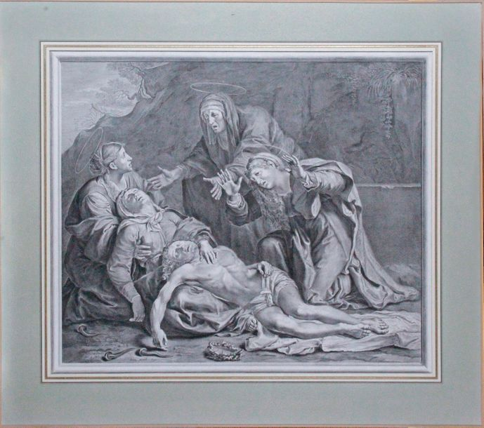 Jean-Louis ROULLET (1643-1966) d'après Annibal CARRACHE DÉPLORATION DU CHRIST MORT…