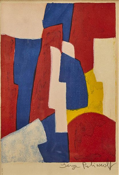 4- Serge POLIAKOFF (1900-1969)  Composition bleue, rouge et rose, 1961 Lithographie…