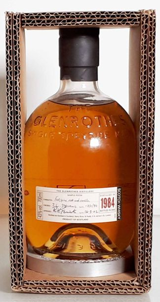 Vins et spiritueux 1 B GLENROTHES, Single Spey Side, 43%,mise 16/03/2002 Scotch …