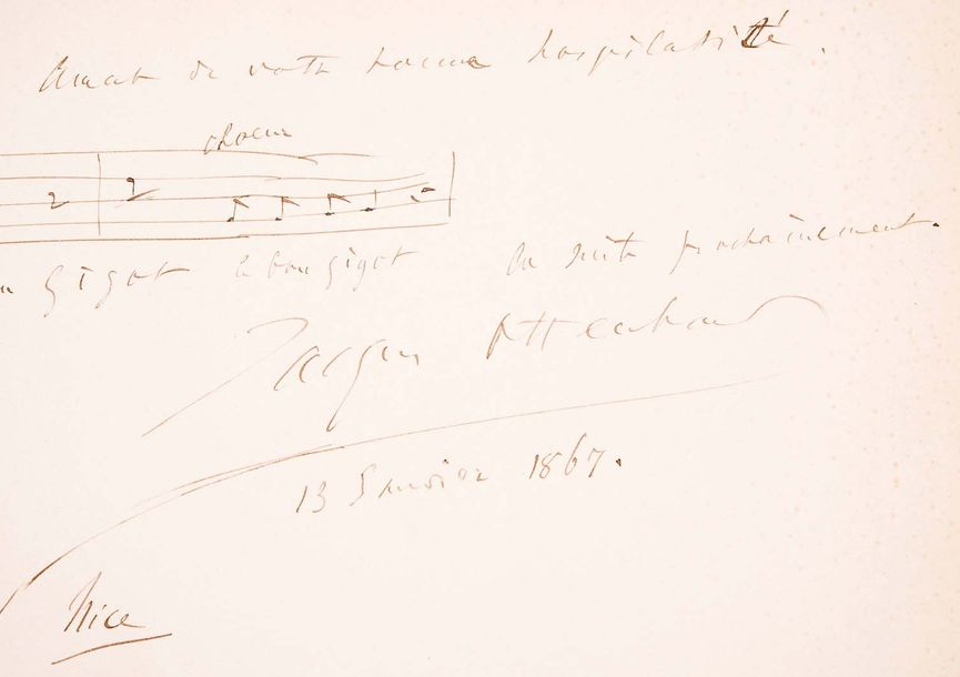 Jacques OFFENBACH (1819-1880)Manuscrit musical, 18671 page autographe in-folio…