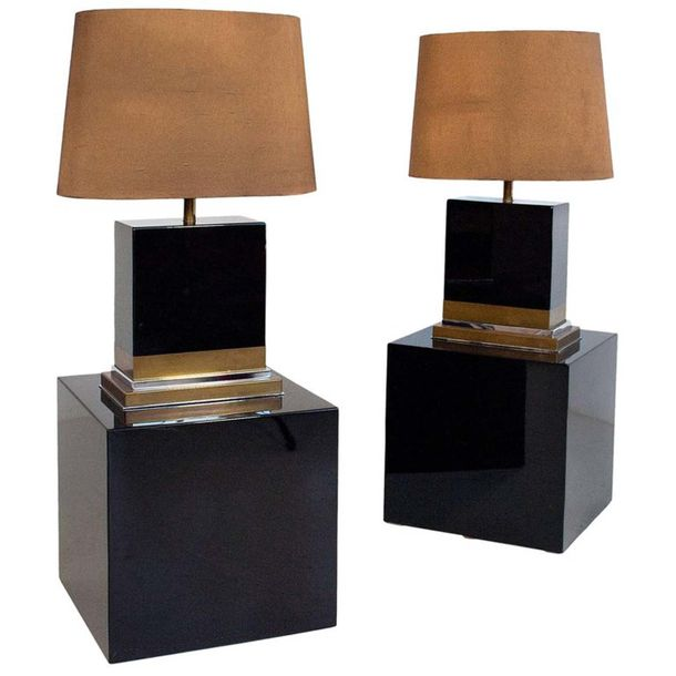 Jean-Claude MAHEY Paire de lampes vers 1970 Wood and brass