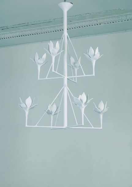 Serge CASTELLA Spring  Chandelier vers 2000 Metal and plaster H 127 x D 83 cm