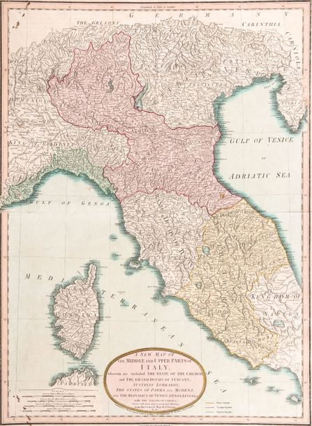 Laurie, Robert et Ja. White. A new map of the middle and upper parts of Italy, Wherein…