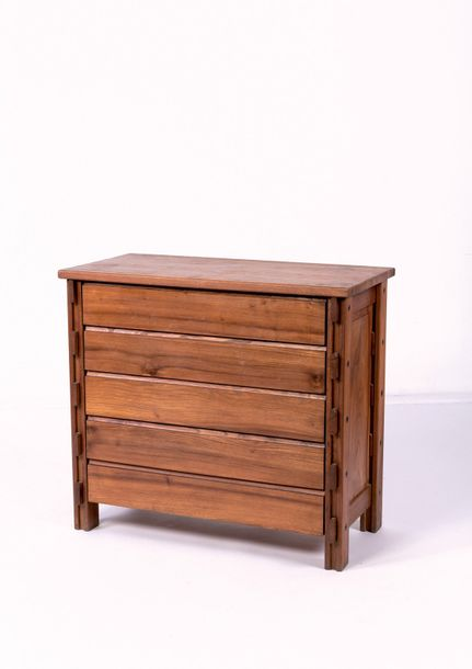 MAISON REGAIN Commode Orme vers 1970 H 93 L 104 P 52 cm Chest of drawers in elm by…