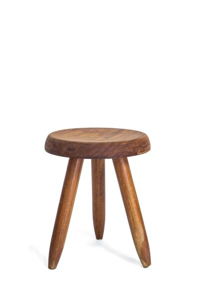 59 CHARLOTTE PERRIAND (1903-1999) Berger  Tabouret Chêne vers 1970 H 40 L P D 31…