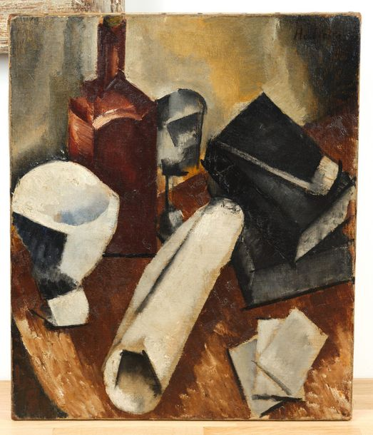 ALICE HALICKA (Cracovie 1894 – Paris 1975)  Nature morte cubiste  Circa 1916  Huile…