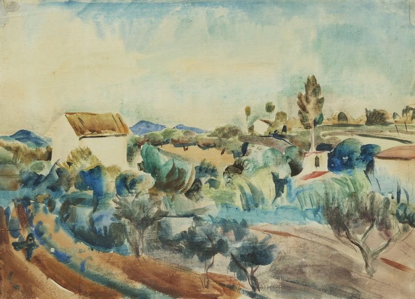 WILLY EISENSCHITZ (Vienne 1889 – Paris 1974)  Paysage du Sud de la France  Aquarelle…
