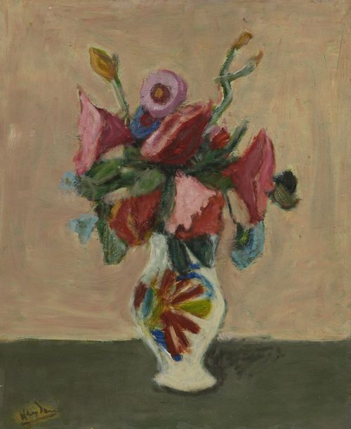 HENRI HAYDEN (Varsovie 1883 – Paris 1970)  Nature morte au bouquet  Huile sur papier…