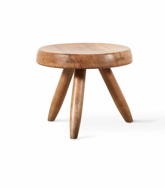 Charlotte PERRIAND (1903-1999)  A wooden berger stool  Tabouret rond plat dit tabouret…