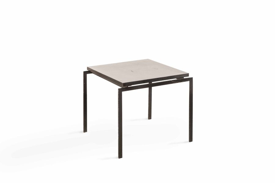 Table Basse  A wooden and metal coffee table, around '60  Plateau reposant sur une…