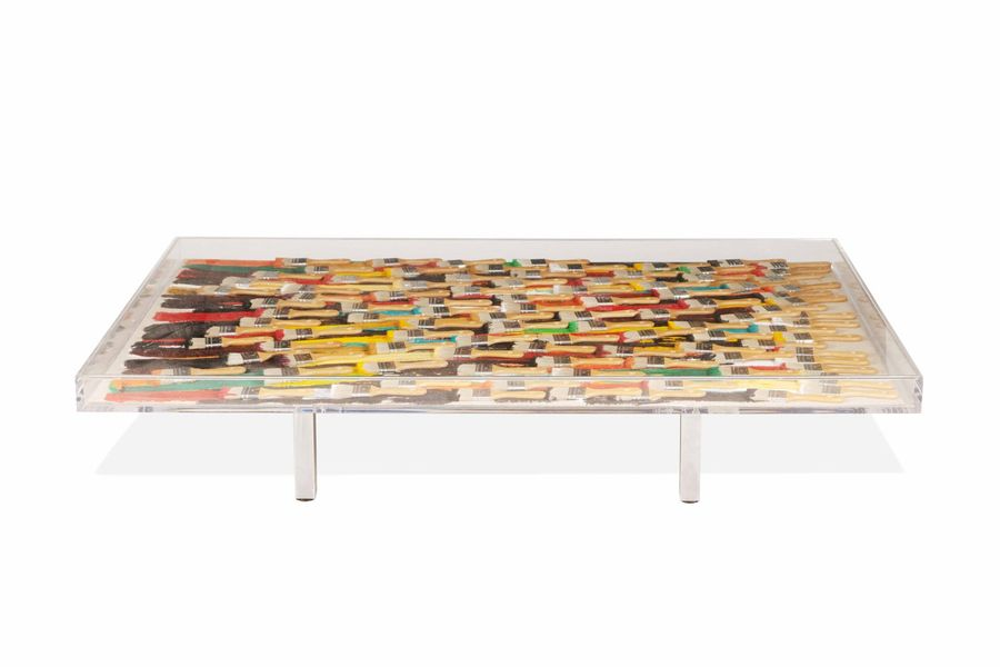 ARMAN (1928-2005)  A large coffee table by Arman  Table basse, Brush and brunch,…