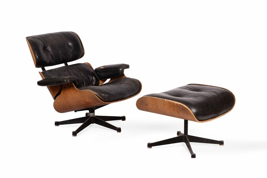 Charles (1907-1978) & Ray (1912-1988) EAMES  Fauteuil dit lounge chair n° 670 et…