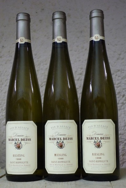 "3 Bouteilles DEISS - RIESLING ""SAINT-HIPPOLYTE"" 1998"