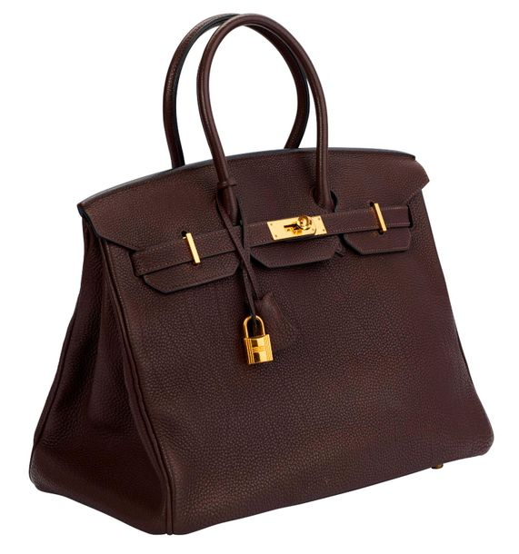 HERMÈS Paris made in France 2008  Sac Birkin 35 en cuir Togo marron, fermoirs et…