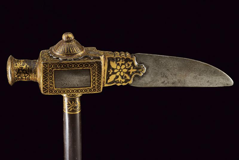 Zaghnal (war hammer) dating: 18th Century provenance: India, Double edged blade,…