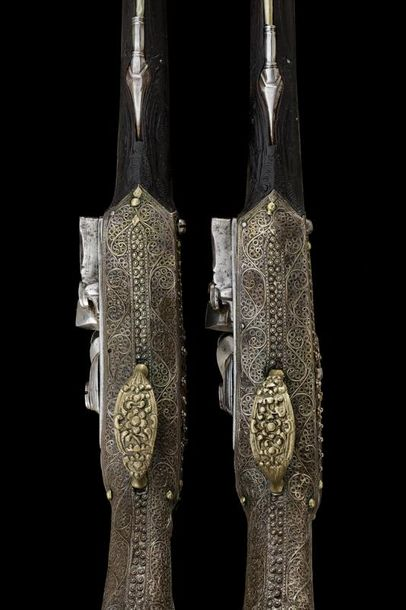 A beautiful pair of Ali Pasha style flintlock pistols with it's rare holster dat…