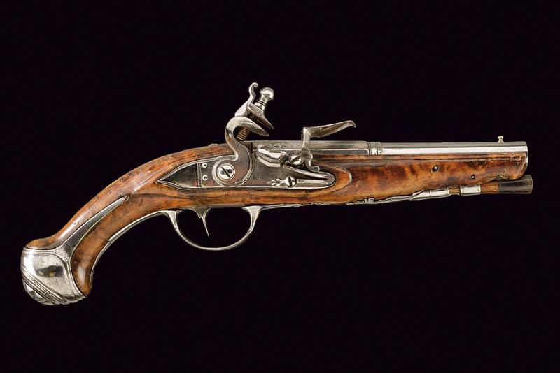 A flintlock pistol dating: 18th Century provenance: Italy, Smooth bore, two stag…
