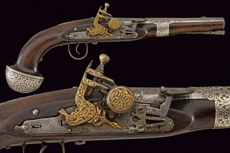 A very scarce flintlock pistol dating: First half of the 19th Century provenance…
