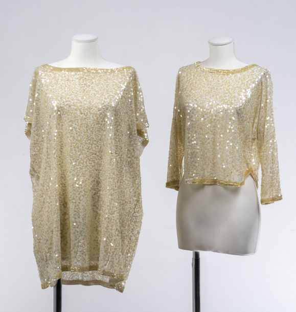 Zoran, circa 1975  Ensemble en tulle stretch et paillettes translucides, compremant…