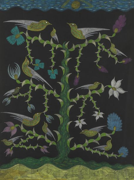 SCOTTIE WILSON (LOUIS FREEMAN DIT) (1888-1972) COMPOSITION AUX OISEAUX Pastel sec,…