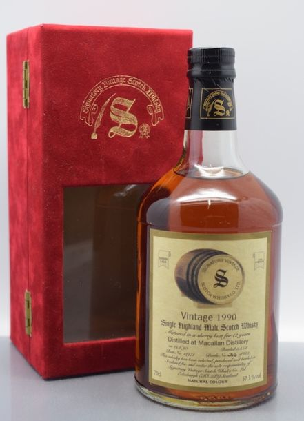 """1 bouteille SCOTCH WHISKY """"Single Malt"""", Macallan 1990 (12 years in a sherry butt,…"""