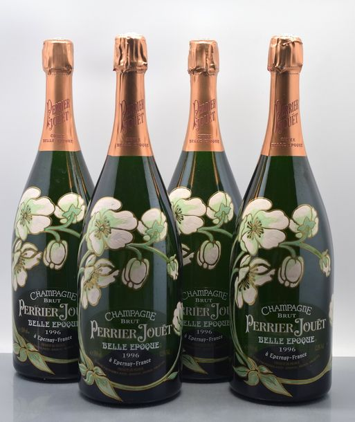 "4 magnums CHAMPAGNE ""Belle Epoque"", Perrier Jouët 1996 cb de 1 Vendu en collaboration…"