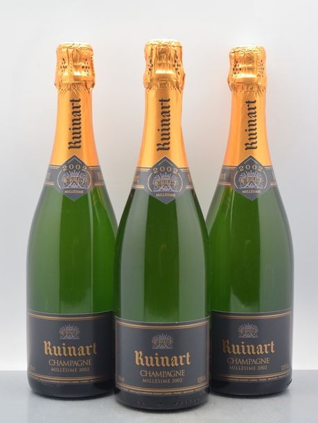 3 bouteilles CHAMPAGNE Ruinart 2002