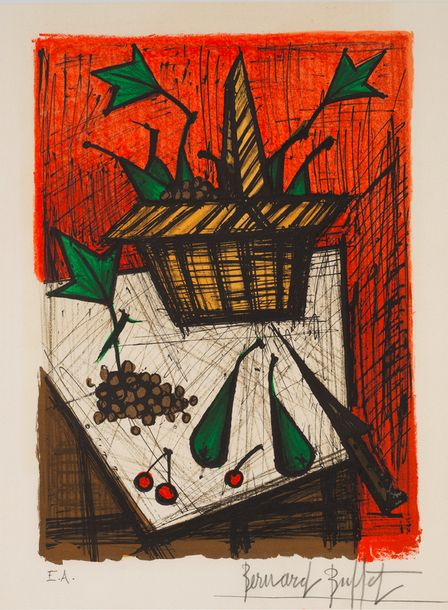 BERNARD BUFFET (1928-1999) NATURE MORTE AU PANIER DE FRUITS, 1979 (Sorlier, 332)…