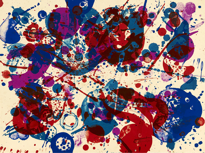 SAM FRANCIS (1923-1994) SANS TITRE Lithographie en couleurs (recto verso) Unique…