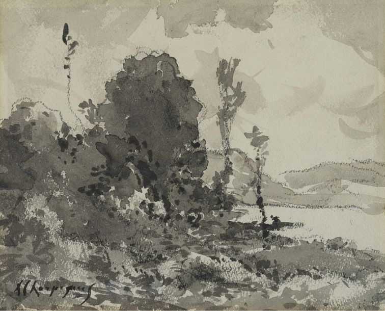 HENRI-JOSEPH HARPIGNIES (1819-1916) LANDSCAPE India ink and ink wash on paperSigned…