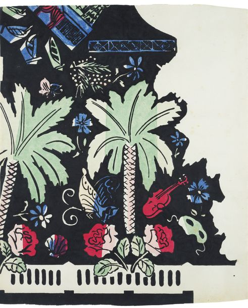 RAOUL DUFY (1877-1953) PAPILLONS, PALMIERS AND GUITAR Gouache fabric project, India…
