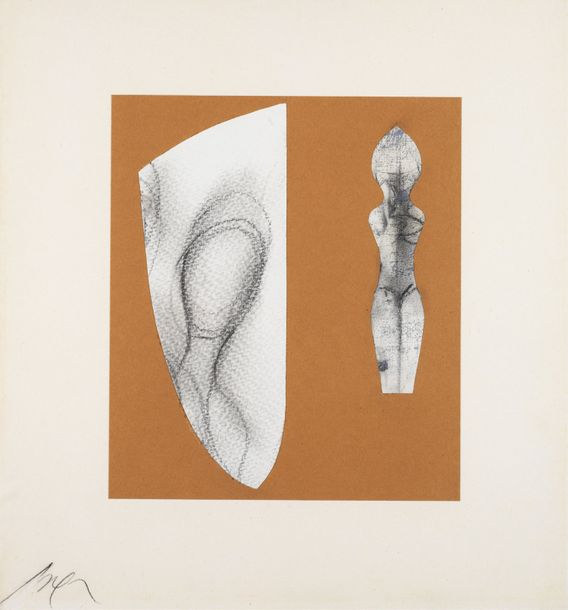 JEAN ARP (1886-1966) *WITHOUT TITLE, 1961 Charcoal and collage on paper mounted on…