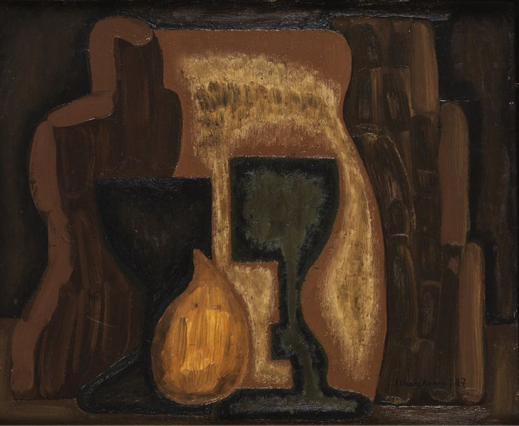 SERGE CHARCHOUNE (1888-1975) FIG AND GLASS COMPOSITION, 1927 Oil on panel Signed…