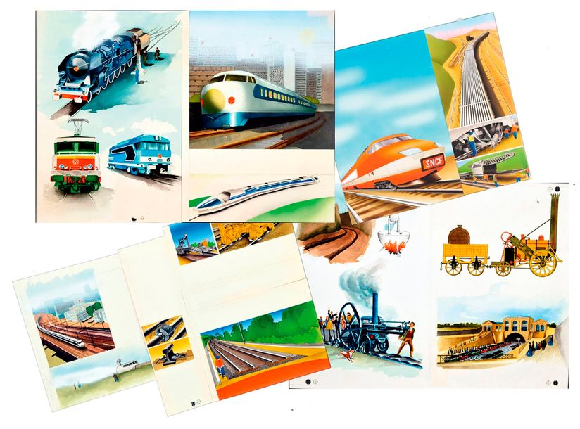 Beylier, Christiane Trains Ensemble de 6 illustrations représentant des trains, locomotives,…