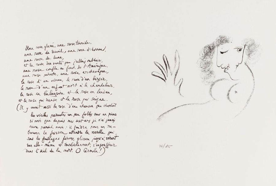 9. Marc CHAGALL (1887-1985)  UNE ROSE GLACEE…, 1967-1978  (Dupin, 475 ; Mourlot,…
