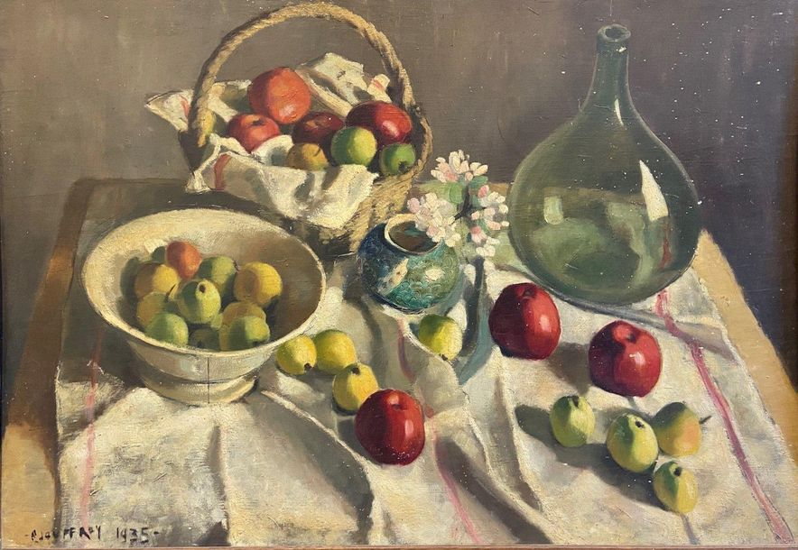 1.PIERRE JOUFFROY (1912-?) 1.PIERRE JOUFFROY (1912-?)  NATURE MORTE AUX FRUITS, 1935…