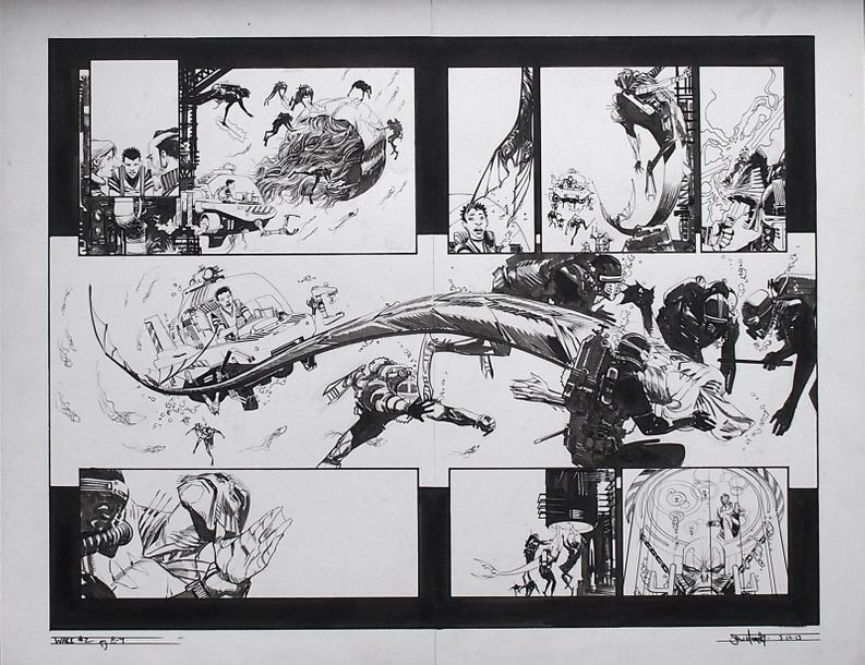 """MURPHY SEAN THE WAKE Planches originales des pages 8 et 9 du comics """"The Wake"""", Issue…"""