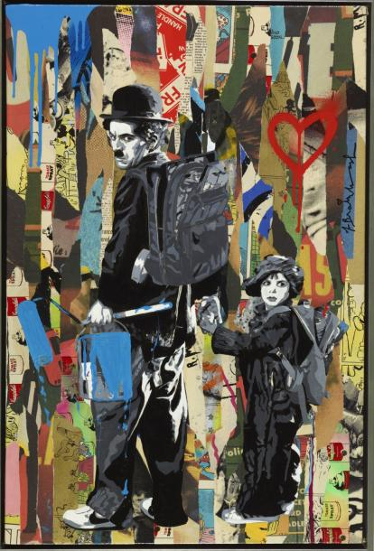MR BRAINWASH FRANÇAIS 1966 FRANÇAIS 1966 CHAPLIN & THE KID, CIRCA 2012 Pochoir et…