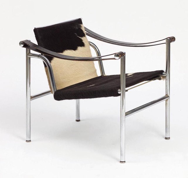 le corbusier fauteuil lc1 structure en tube d 39 acier chrom assise et dossier. Black Bedroom Furniture Sets. Home Design Ideas