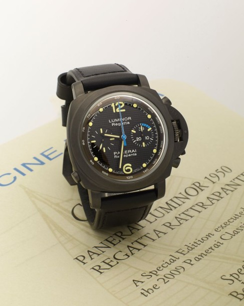 PANERAI MONTRE LUMINOR PANERAI en acier PVD noir, dite Luminor 1950 Chronographe…