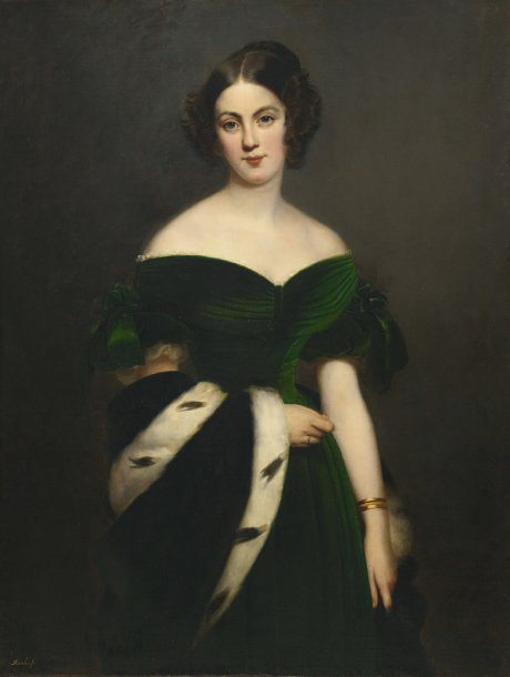 Claude-Marie DUBUFE (Paris 1790 - La Celle Saint Cloud 1864) Portrait de femme à…